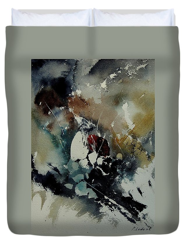 Abstract Duvet Cover featuring the painting Abstract 900121 by Pol Ledent