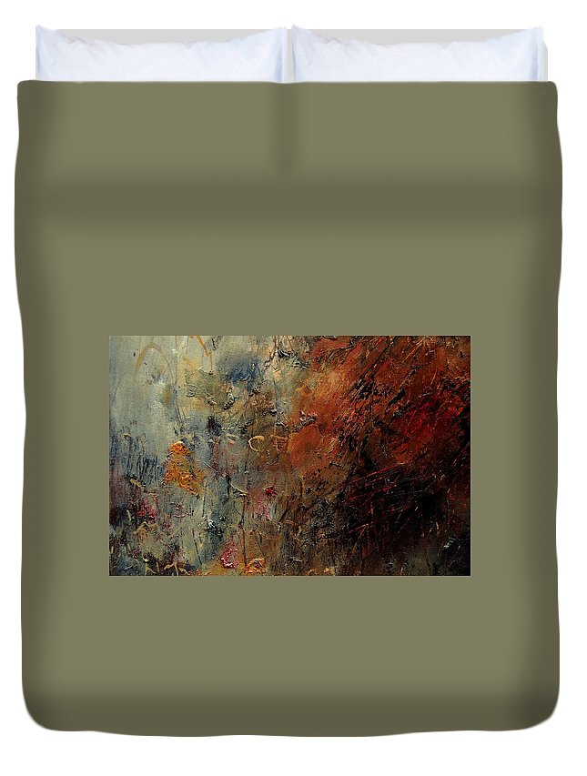 Abstract Duvet Cover featuring the painting Abstract 900192 by Pol Ledent