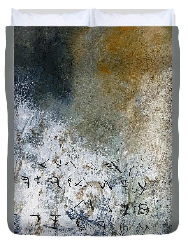 Abstract Duvet Cover featuring the painting Abstract 904023 by Pol Ledent