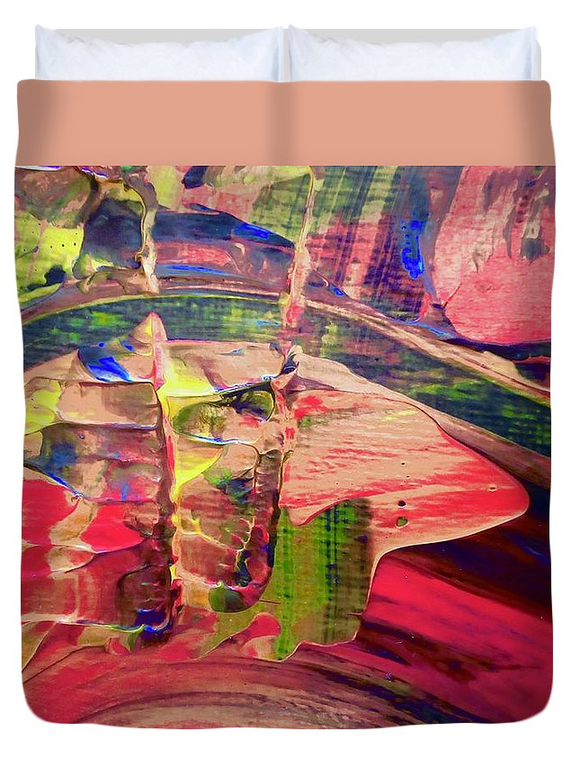 Red Duvet Cover featuring the painting Abstract 9096 by Stephanie Moore