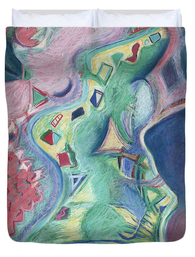 Abstract Duvet Cover featuring the painting Abstract 92 - Inner Landscape by Kerryn Madsen- Pietsch