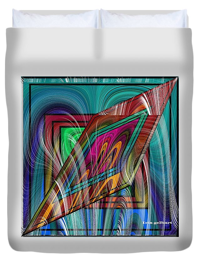 Abstract Duvet Cover featuring the digital art Abstract 9554 by Iris Gelbart