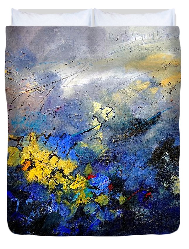 Abstract Duvet Cover featuring the painting Abstract 970208 by Pol Ledent