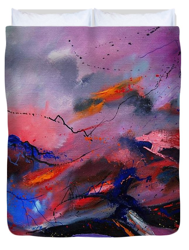 Abstract Duvet Cover featuring the painting Abstract 971260 by Pol Ledent