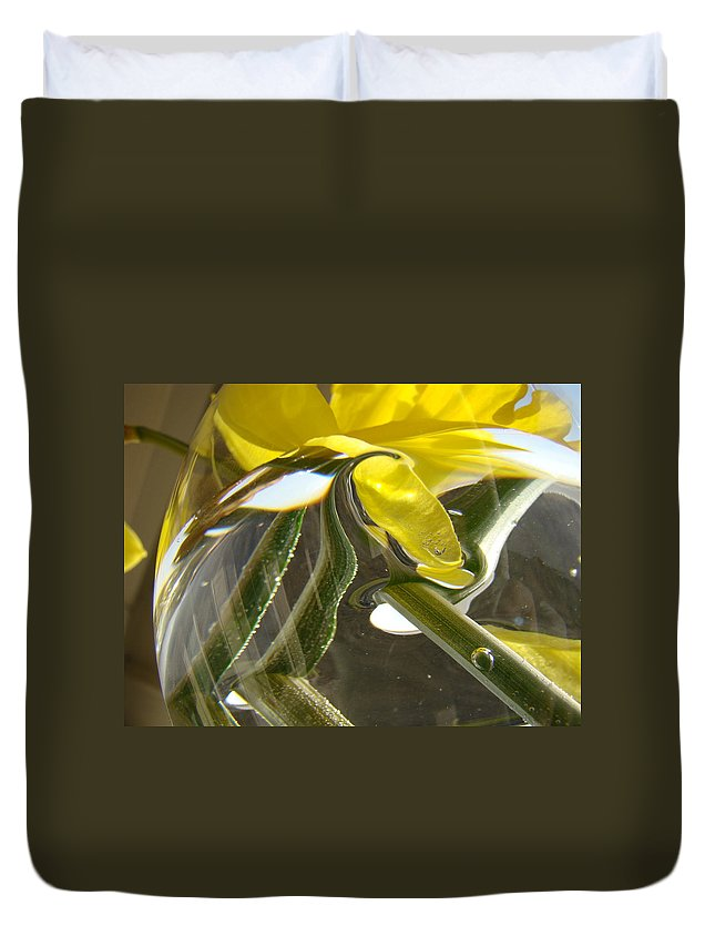 �daffodils Artwork� Duvet Cover featuring the photograph Abstract Artwork Daffodils Flowers 1 Natural Abstract Art Prints Glass Vase Water Art Light Air by Baslee Troutman