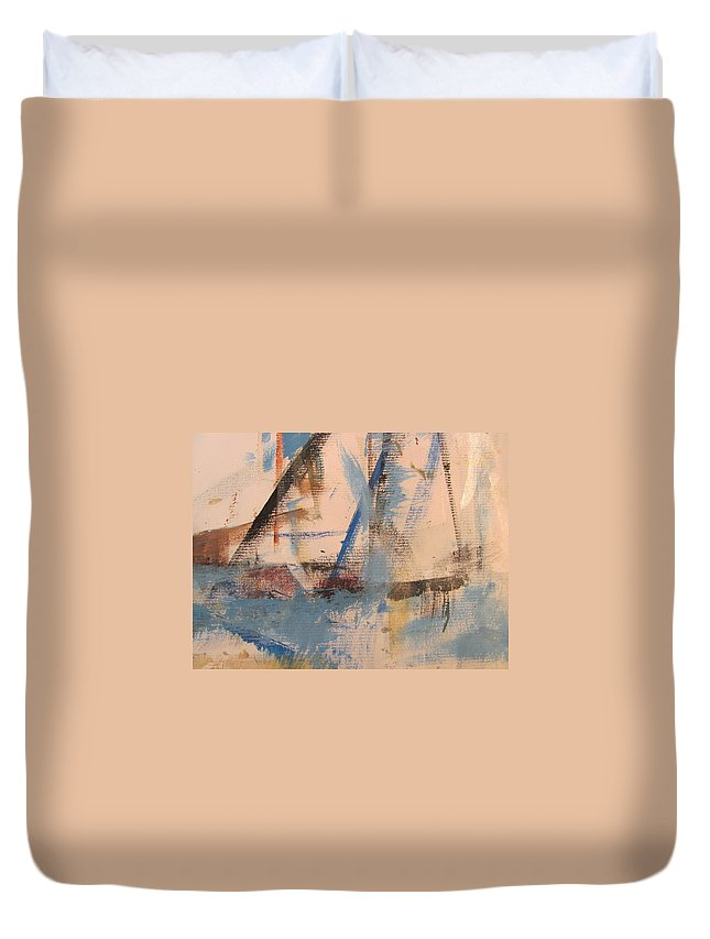 Abstract Duvet Cover featuring the painting Abstract At Sea 1 by Anita Burgermeister