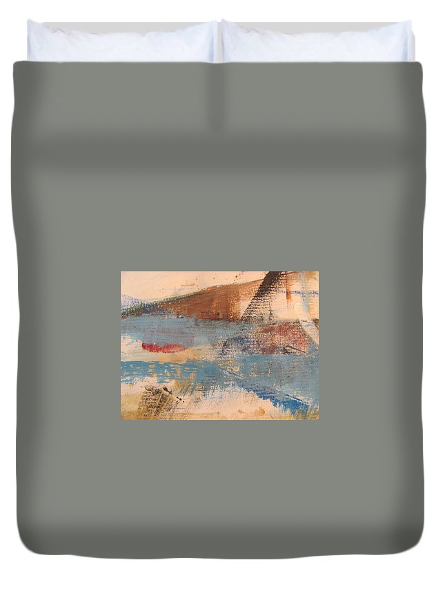 Abstract Duvet Cover featuring the painting Abstract At Sea 2 by Anita Burgermeister