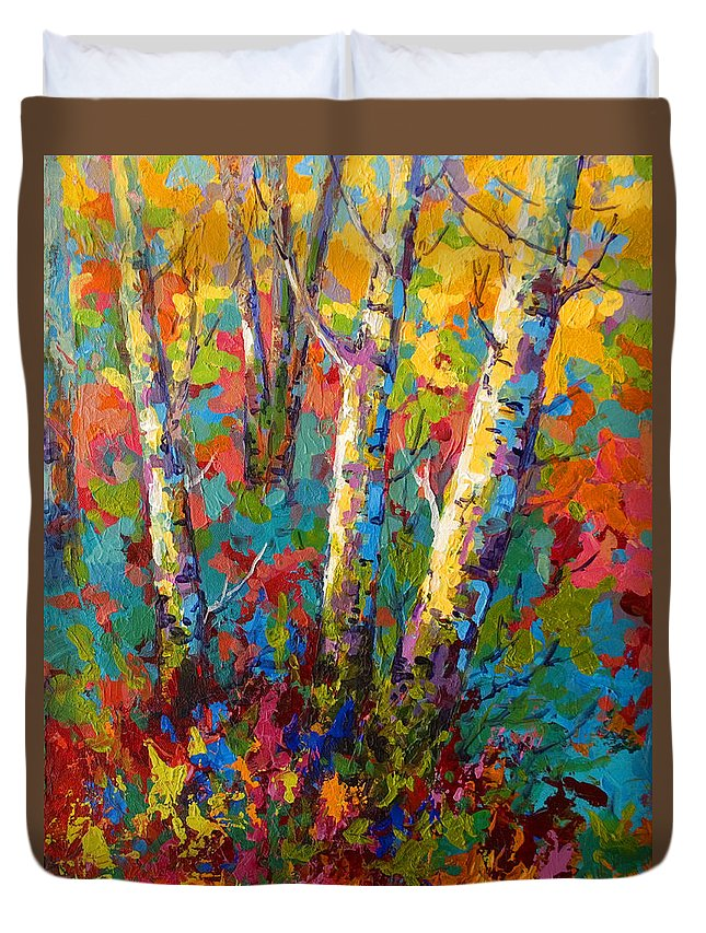 Trees Duvet Cover featuring the painting Abstract Autumn II by Marion Rose