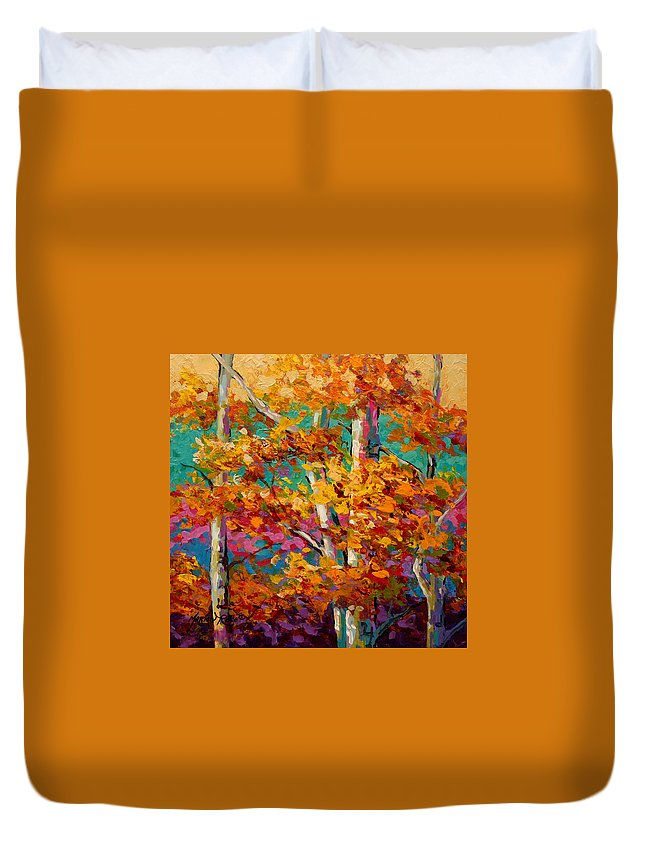 Trees Duvet Cover featuring the painting Abstract Autumn IIi by Marion Rose