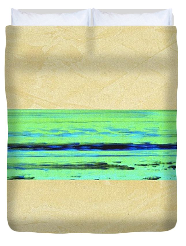 Beach Duvet Cover featuring the mixed media Abstract Beach Landscape by Corbin Henry