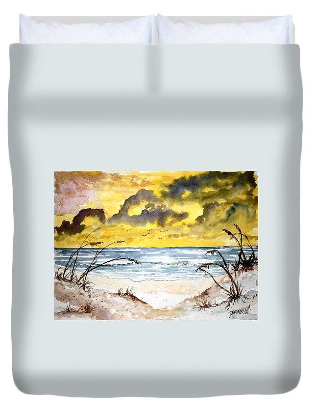 Beach Duvet Cover featuring the painting Abstract Beach Sand Dunes by Derek Mccrea