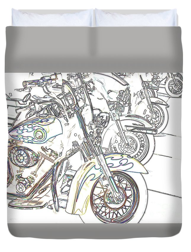 Motorcycle Duvet Cover featuring the photograph Abstract Bikes by Tom Gari Gallery-Three-Photography