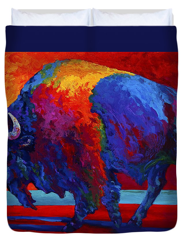 Bison Duvet Cover featuring the painting Abstract Bison by Marion Rose