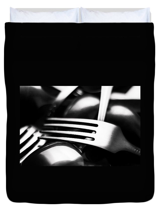 Abstract Duvet Cover featuring the photograph Abstract Black And White Photo Of Mixed Silver Forks by Alain De Maximy
