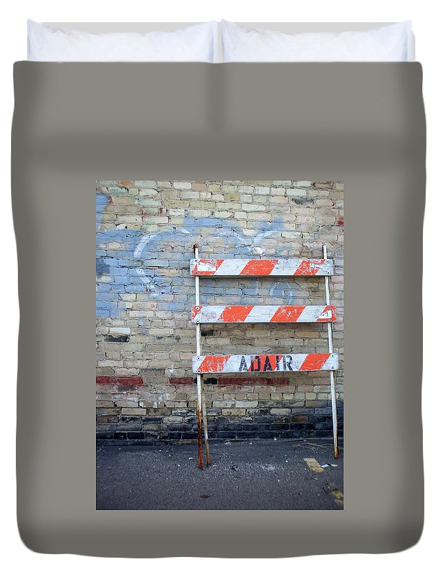 Industrial Duvet Cover featuring the photograph Abstract Brick 1 by Anita Burgermeister