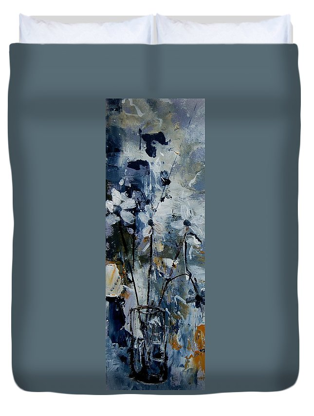 Abstract Duvet Cover featuring the painting Abstract Bunch Of Flowers by Pol Ledent