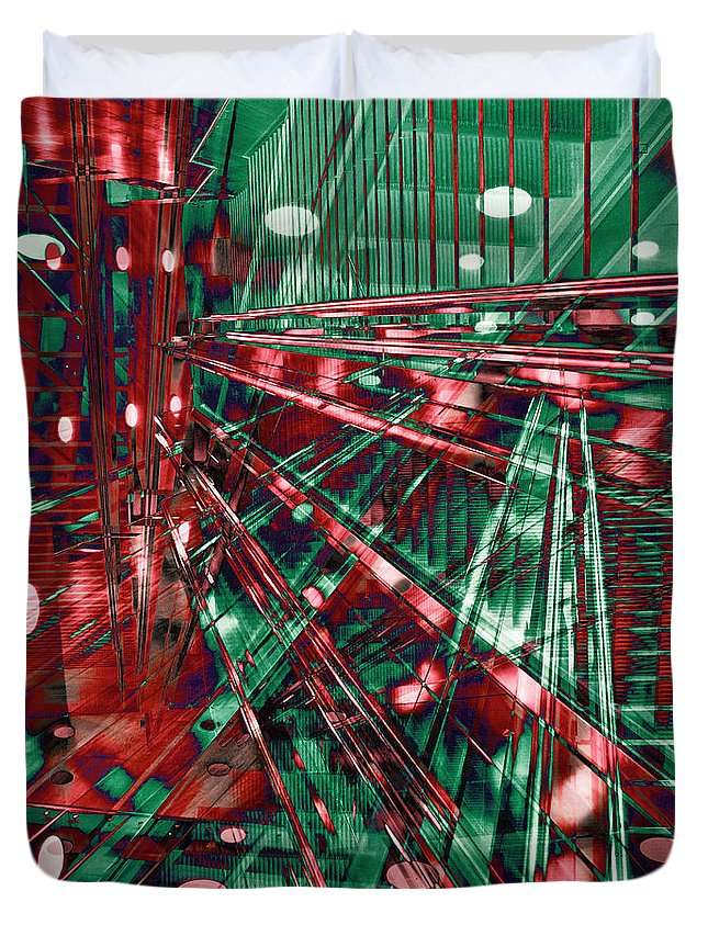 Red Berlin Sound Duvet Cover featuring the digital art Red Berlin Sound by Silva Wischeropp