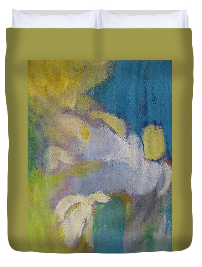 Abstact Duvet Cover featuring the painting Abstract Close Up 7 by Anita Burgermeister