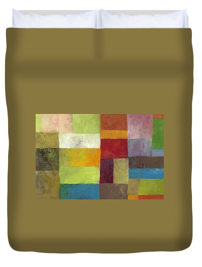 Abstract Duvet Cover featuring the painting Abstract Color Study Lv by Michelle Calkins