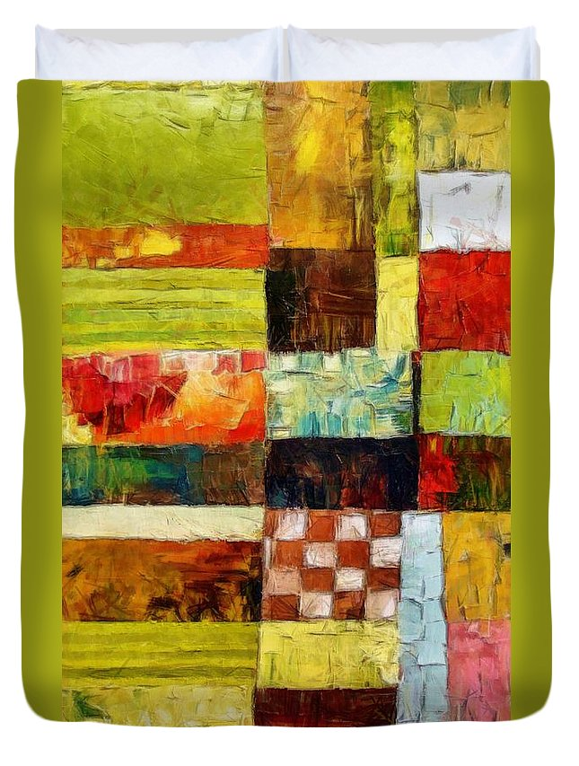 Patchwork Duvet Cover featuring the painting Abstract Color Study With Checkerboard And Stripes by Michelle Calkins