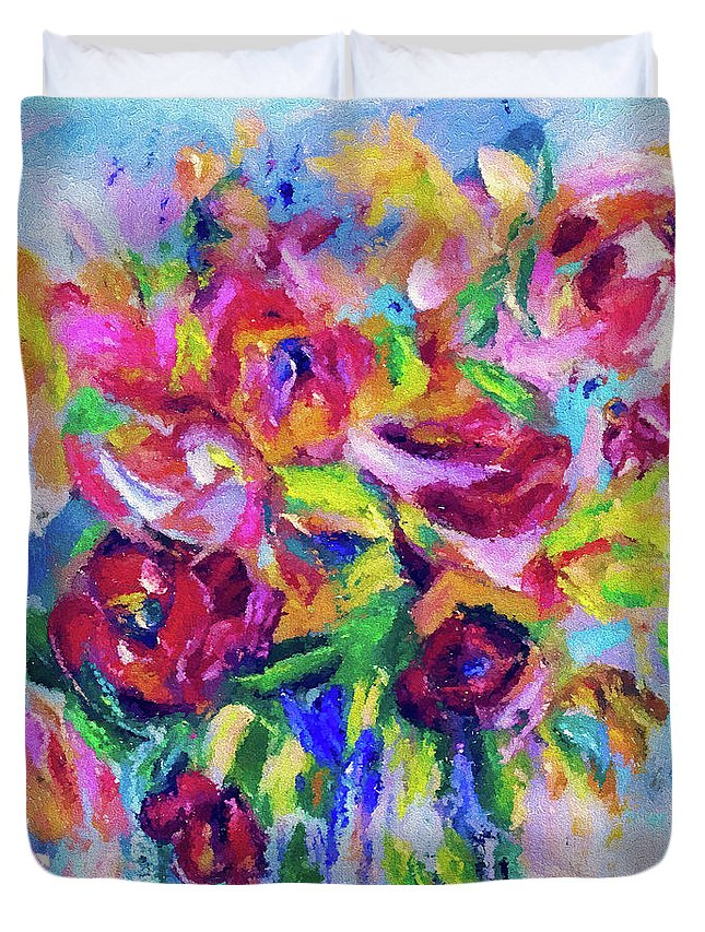 Duvet Cover featuring the digital art Abstract Colorful Flowers by OLena Art Brand
