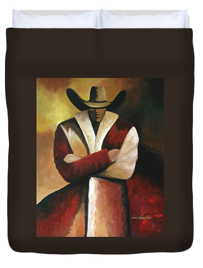 Duvet Cover featuring the painting Abstract Cowboy by Lance Headlee