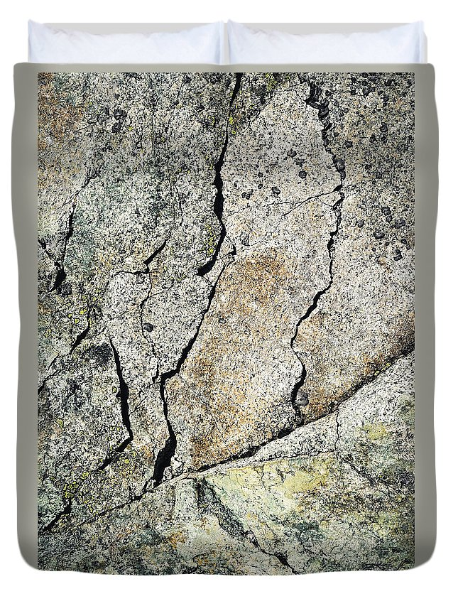 Mineral Duvet Cover featuring the photograph Abstract Cracks On A Granite Block Of Stone by Jozef Jankola