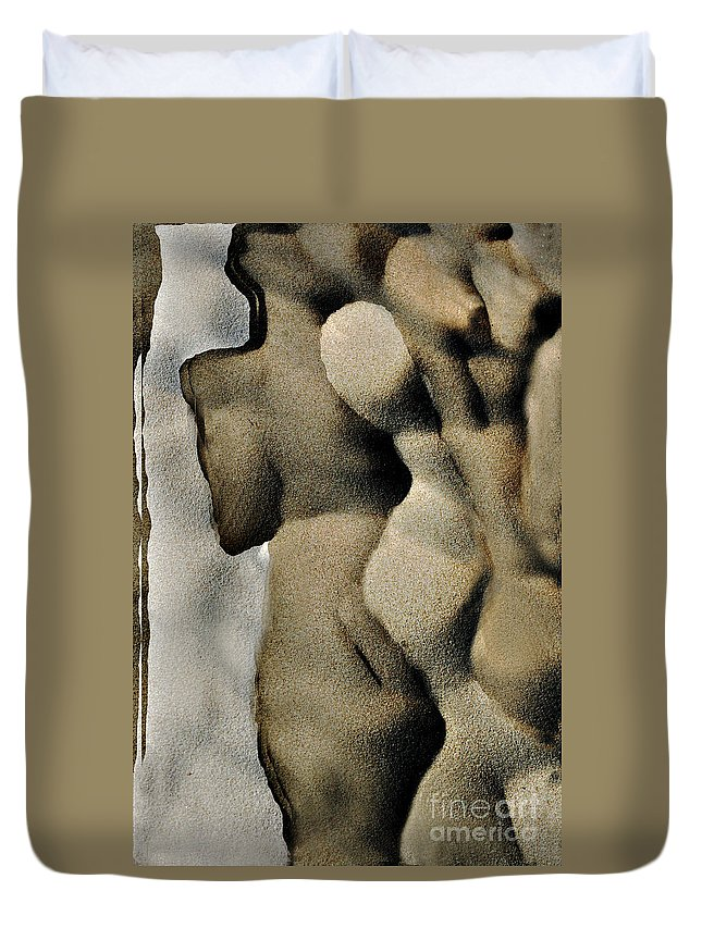 Abstract Duvet Cover featuring the photograph Abstract Female Figure In Grey by Hana Shalom