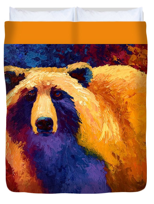 Western Duvet Cover featuring the painting Abstract Grizz II by Marion Rose