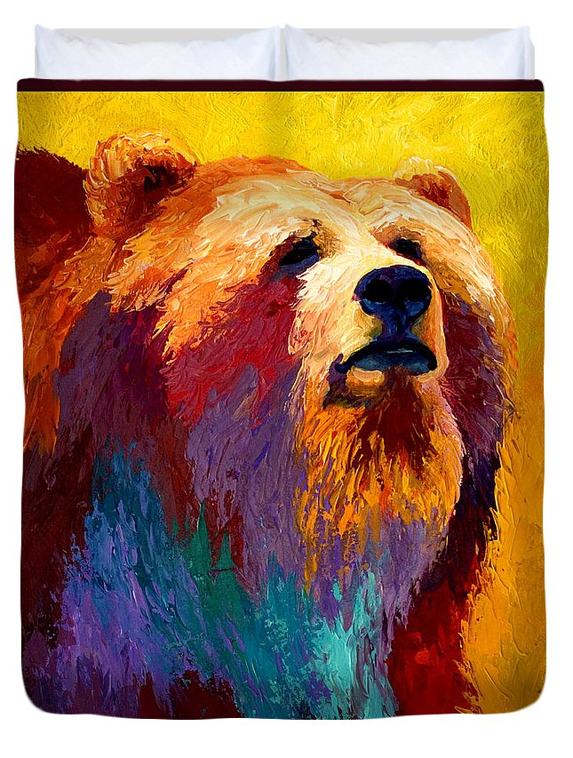 Western Duvet Cover featuring the painting Abstract Grizz by Marion Rose
