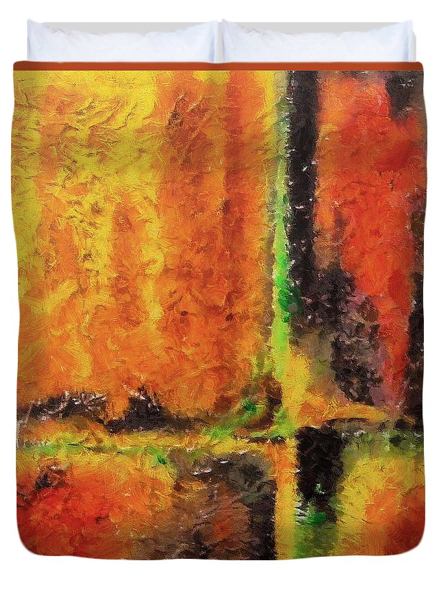 Abstract Duvet Cover featuring the mixed media abstract I by Dragica Micki Fortuna