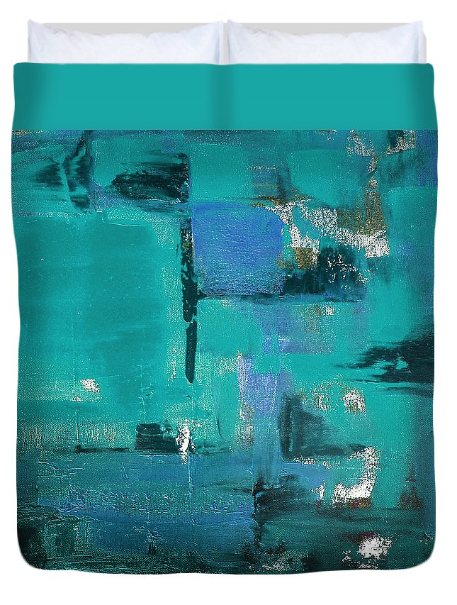 Abstract Duvet Cover featuring the painting Abstract In Blue by Gina De Gorna