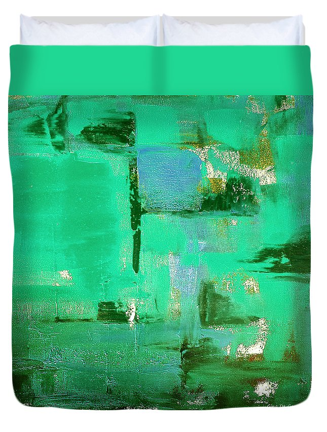 Abstract Duvet Cover featuring the painting Abstract In Green by Gina De Gorna