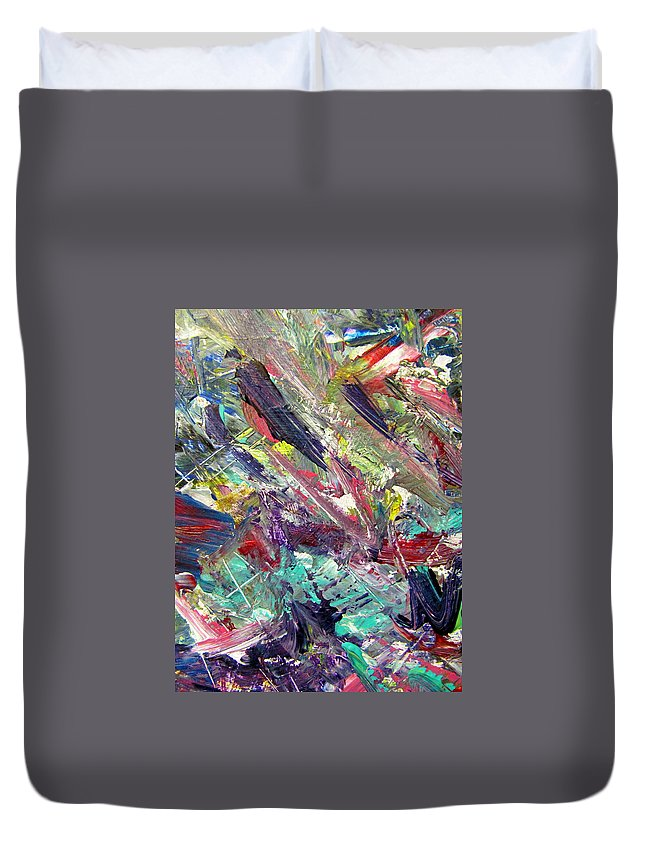 Abstract Duvet Cover featuring the painting Abstract Jungle 7 by Anita Burgermeister