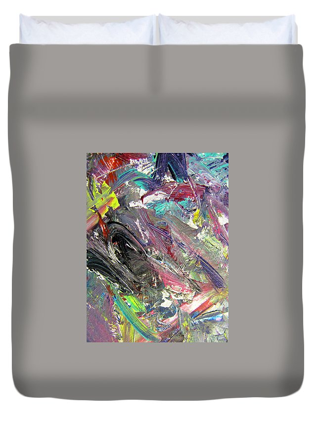 Abstract Duvet Cover featuring the painting Abstract Jungle 9 by Anita Burgermeister