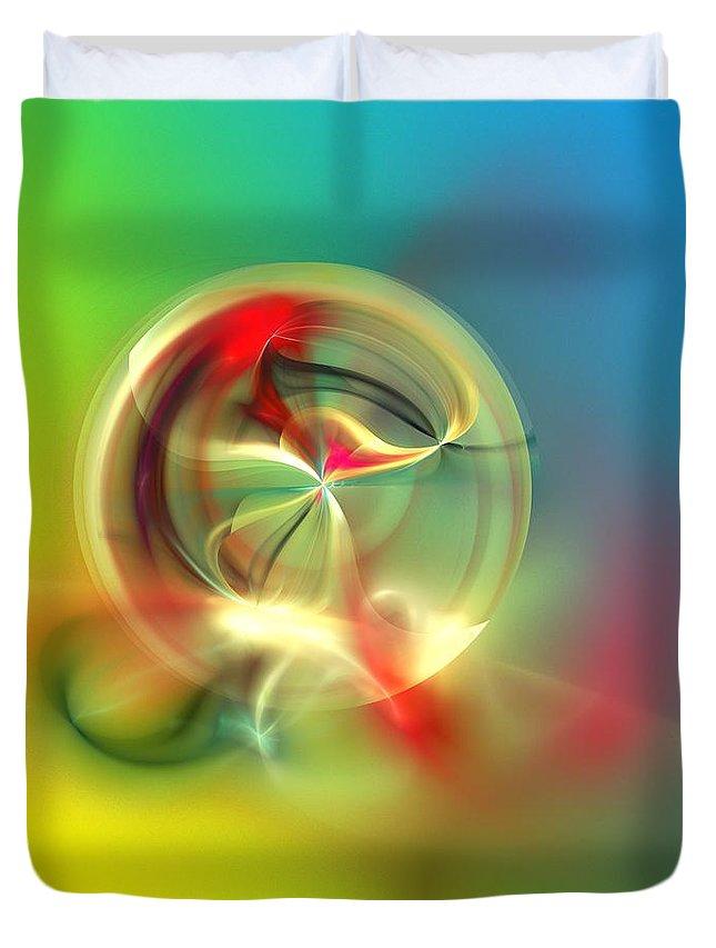 Fine Art Duvet Cover featuring the digital art Abstract Karma Wheel by David Lane