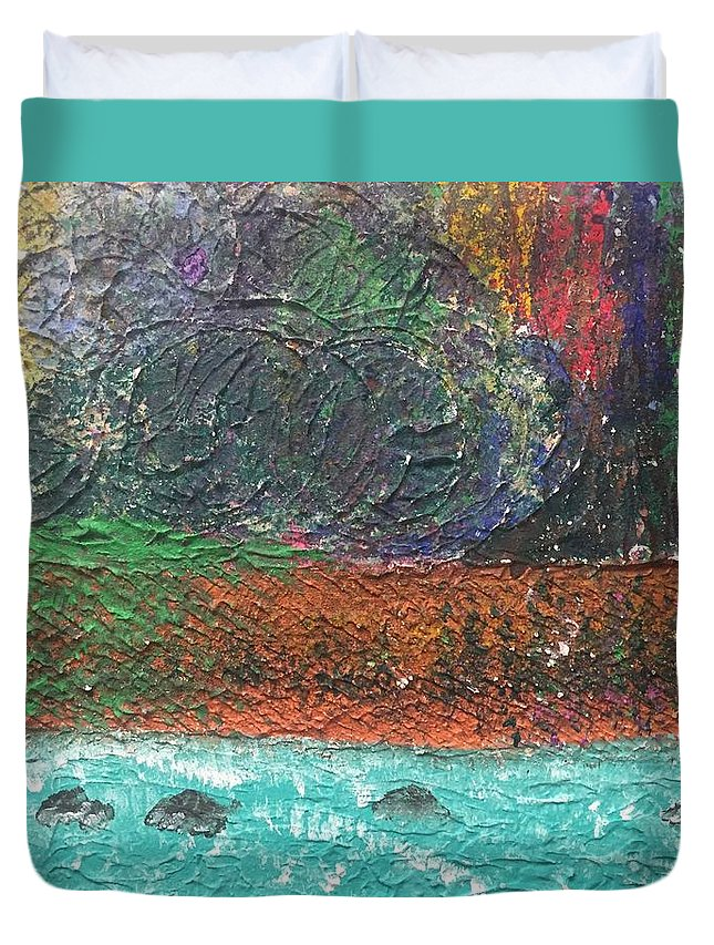 Acrylic Abstract Landscape Duvet Cover featuring the painting Abstract Landscape 15-oo by Virginia Margarita