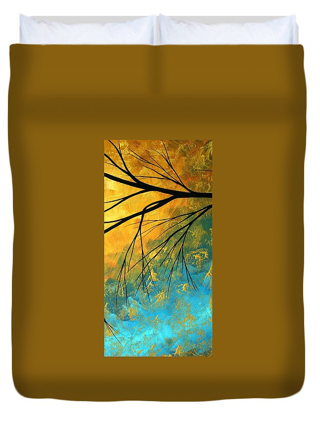 Abstract Duvet Cover featuring the painting Abstract Landscape Art Passing Beauty 2 Of 5 by Megan Duncanson