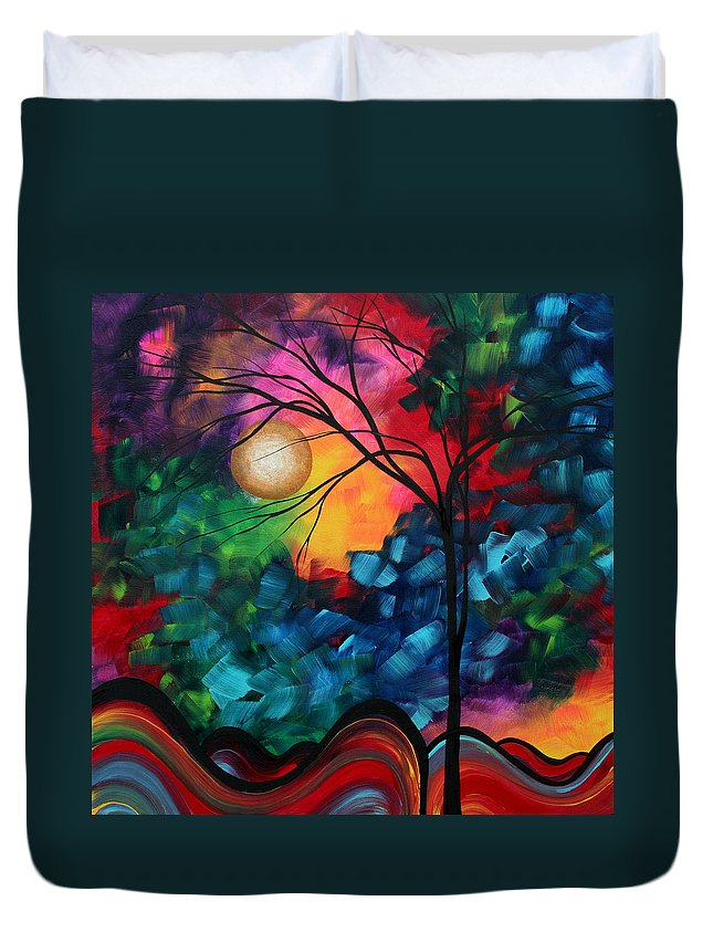 Abstract Duvet Cover featuring the painting Abstract Landscape Bold Colorful Painting by Megan Duncanson