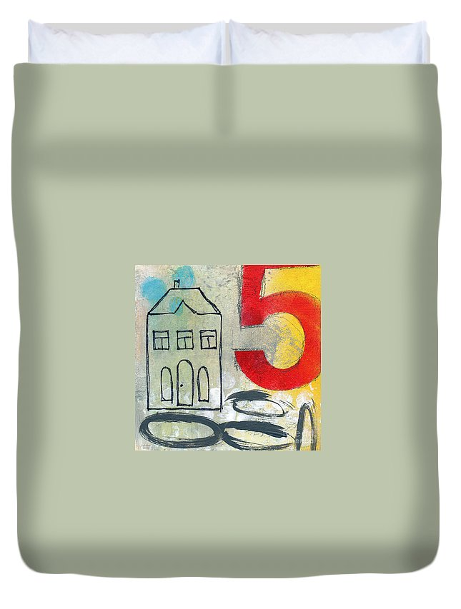 House Duvet Cover featuring the painting Abstract Landscape by Linda Woods