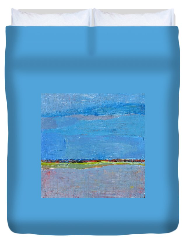 Duvet Cover featuring the painting Abstract Landscape1 by Habib Ayat