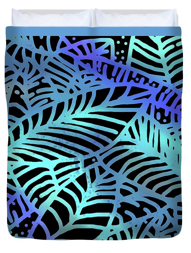 Duvet Cover featuring the digital art Abstract Leaves Black Aqua by Karen Dyson