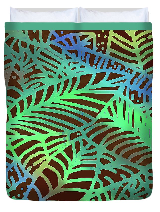 Duvet Cover featuring the digital art Abstract Leaves Cocoa Green by Karen Dyson