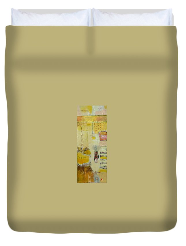 Abstract Duvet Cover featuring the painting Abstract Life 1 by Habib Ayat