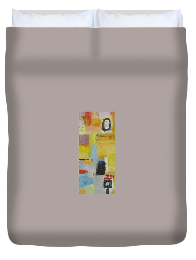 Abstract Duvet Cover featuring the painting Abstract Life 3 by Habib Ayat
