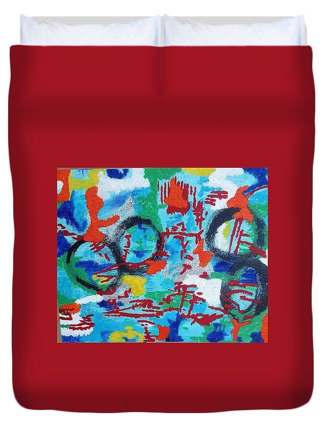 Abstract Art Duvet Cover featuring the painting Abstract Love by Monique Robinson