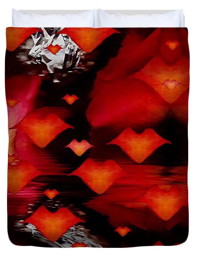 Abstract Duvet Cover featuring the mixed media Abstract Love by Pepita Selles