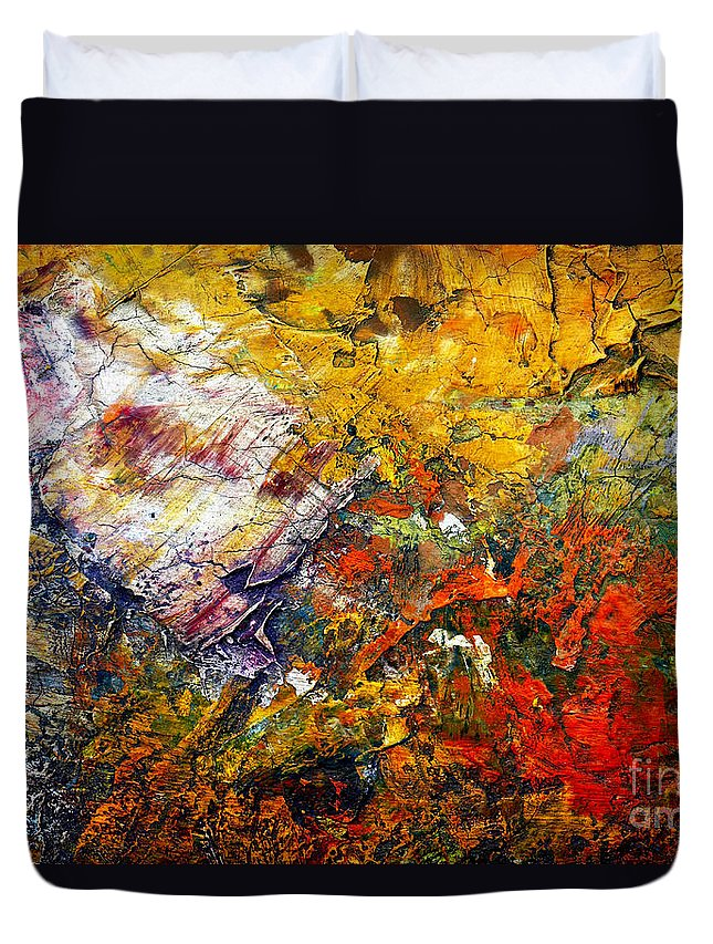 Abstract Duvet Cover featuring the painting Abstract by Michal Boubin