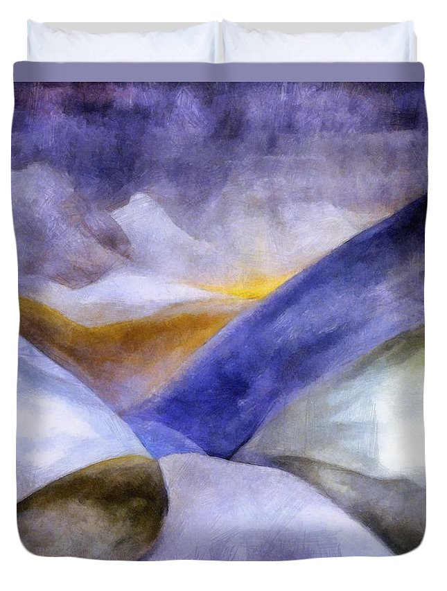 Blue Duvet Cover featuring the painting Abstract Mountain Landscape by Michelle Calkins