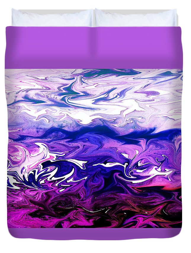 Abstract Ocean Collection Duvet Cover featuring the painting Abstract Ocean Fantasy One by Irina Sztukowski
